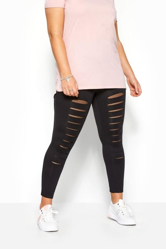 Black Ripped Mesh Insert Leggings
