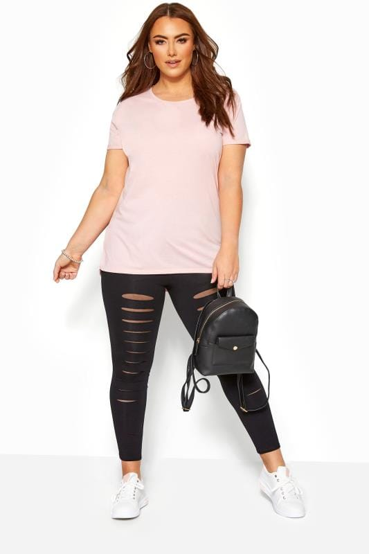 Plus Size Fashion Leggings Black Ripped Mesh Insert Leggings