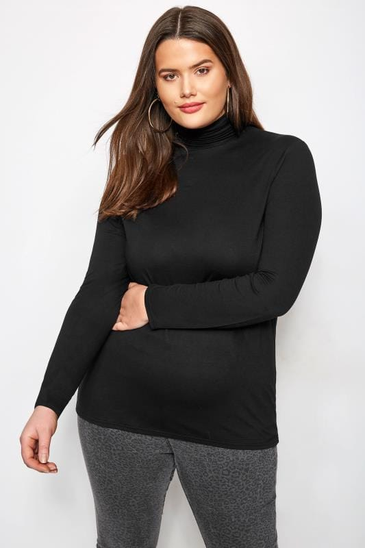 Plus Size Jersey Tops Black Turtleneck Top