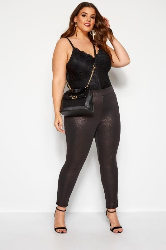 Leggings con diseño Tallas Grandes Leggings negros y rosas brillo