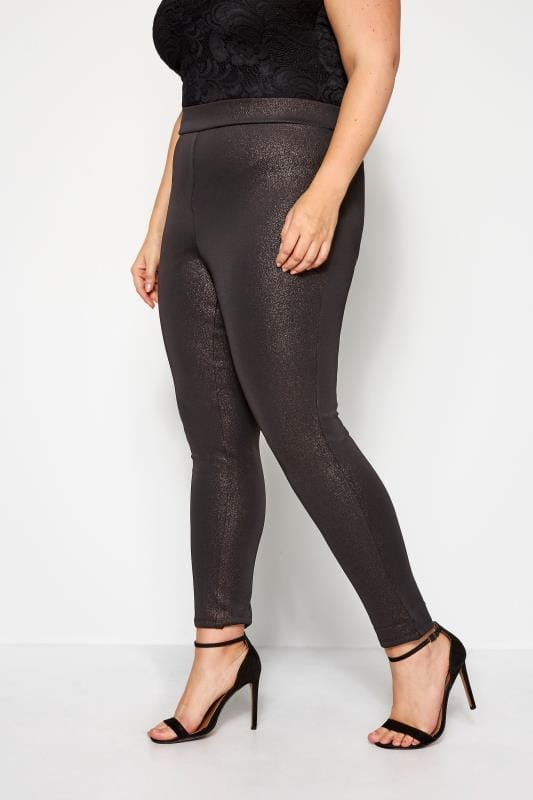 Plus Size Fashion Leggings Black & Rose Gold Metallic Sparkle Leggings