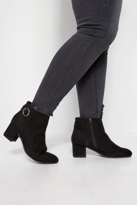 Wide Fit Ankle Boots Black Round Buckle Heeled Ankle Boots In Extra Wide Fit