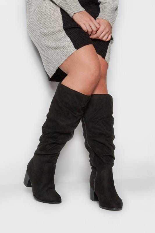 Black Ruched Knee High Boots In Extra Wide Fit