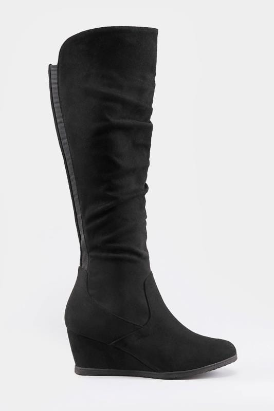 Black Ruched Knee High Wedge Boot In Extra Wide Fit