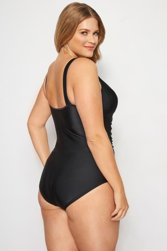 Black Ruched Mesh Swimsuit