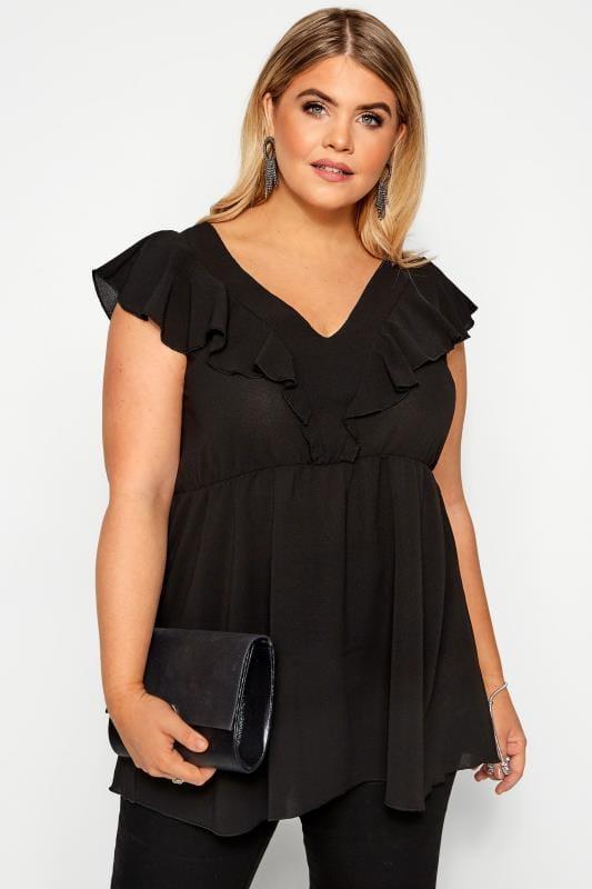 Plus Size Blouses Black Ruffle Peplum Blouse