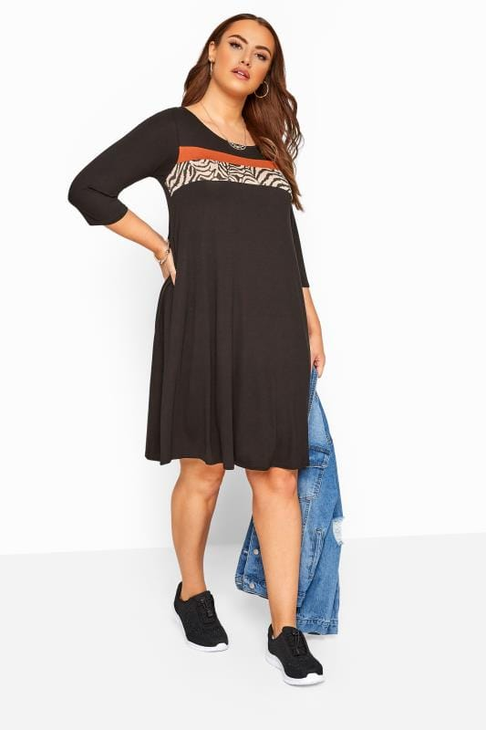 Black & Rust Animal Stripe Print Dress
