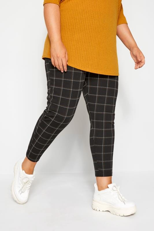 Plus Size Tapered & Slim Fit Trousers Black & Rust Check Trousers