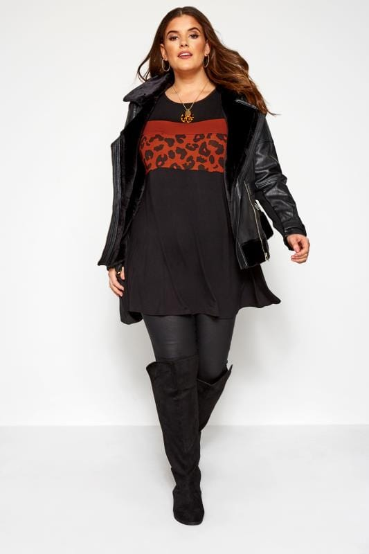 Plus Size Day Tops Black & Rust Leopard Colour Block Swing Top