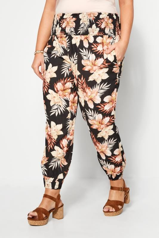 Plus Size Harem Trousers Black Safari Floral Harem Trousers