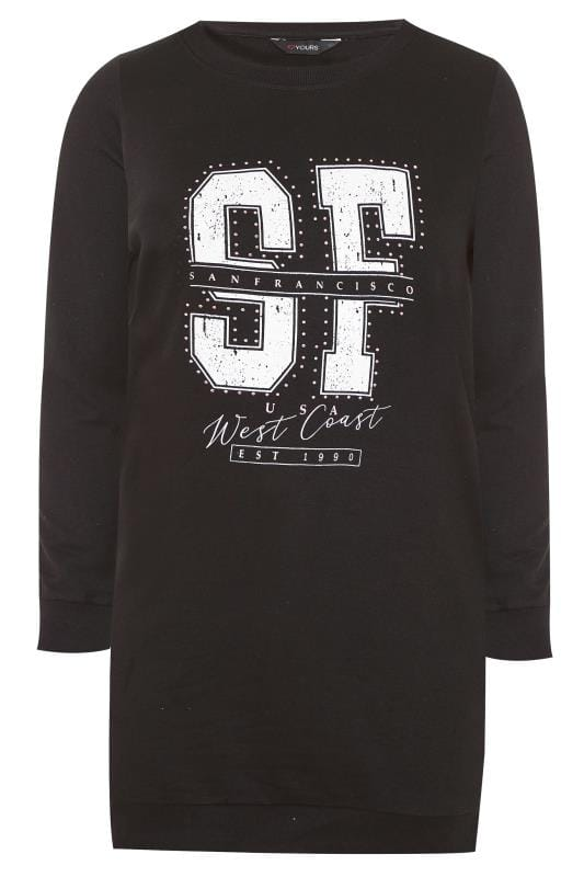Black 'San Francisco' Slogan Longline Sweatshirt