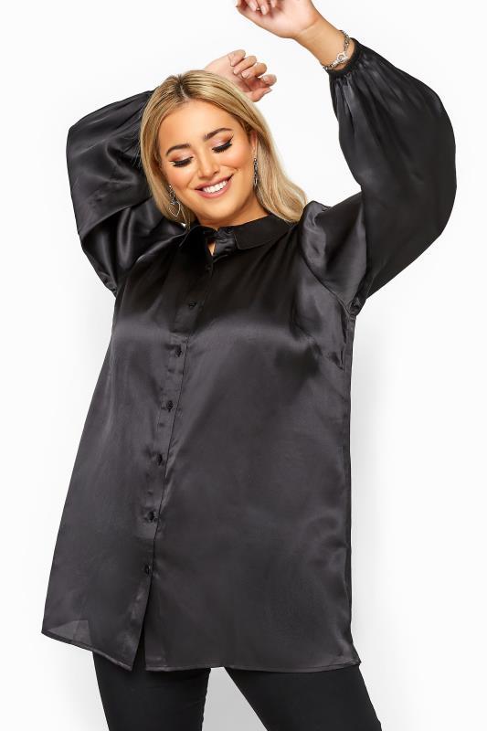 Plus Size Shirts Black Satin Balloon Sleeve Shirt