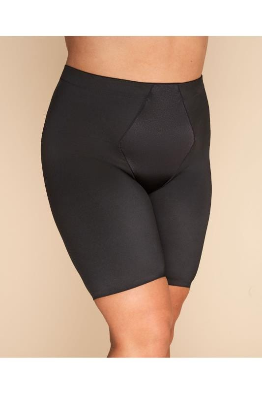 Plus Size Shapewear Black Satin Control Short