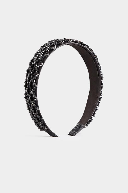 Black Satin Crystal Headband