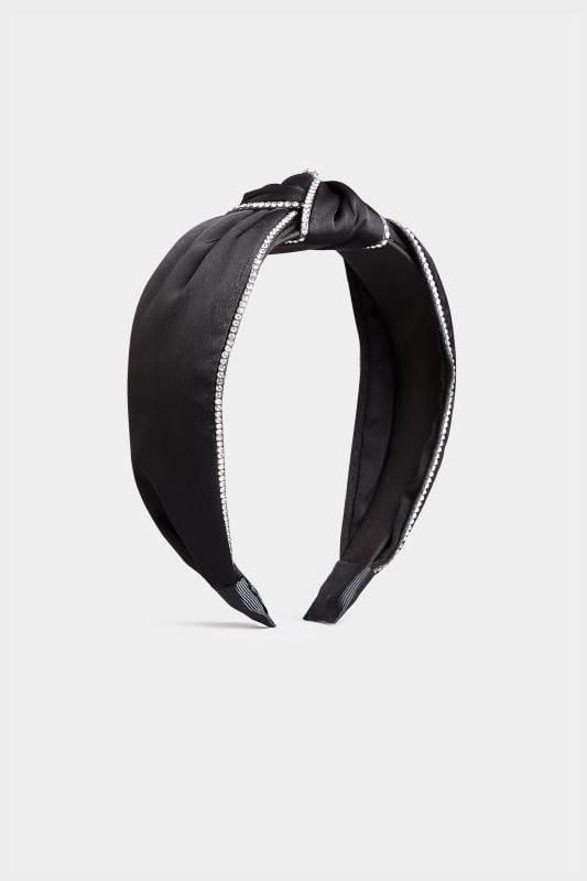 Black Satin Diamante Headband