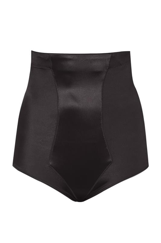 Black Satin High Waist Control Brief