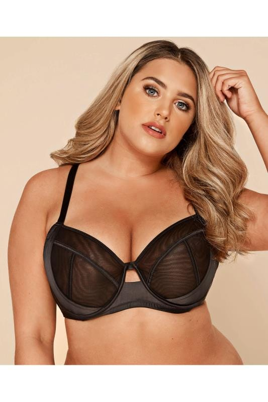 Black Satin & Mesh Wired Bra
