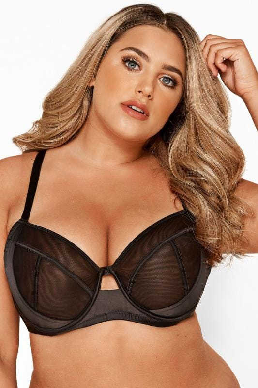 Plus Size Underwired Bras Black Satin & Mesh Wired Bra