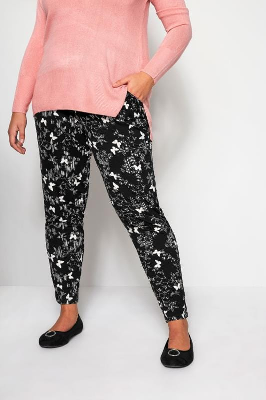 Plus Size Harem Trousers Black Scratch Butterfly Harem Trousers