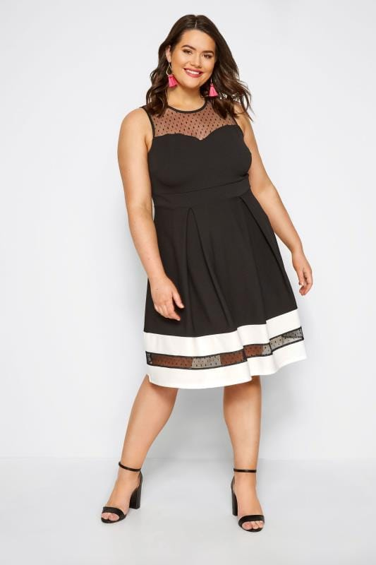 Black Scuba Skater Dress with Mesh Insert