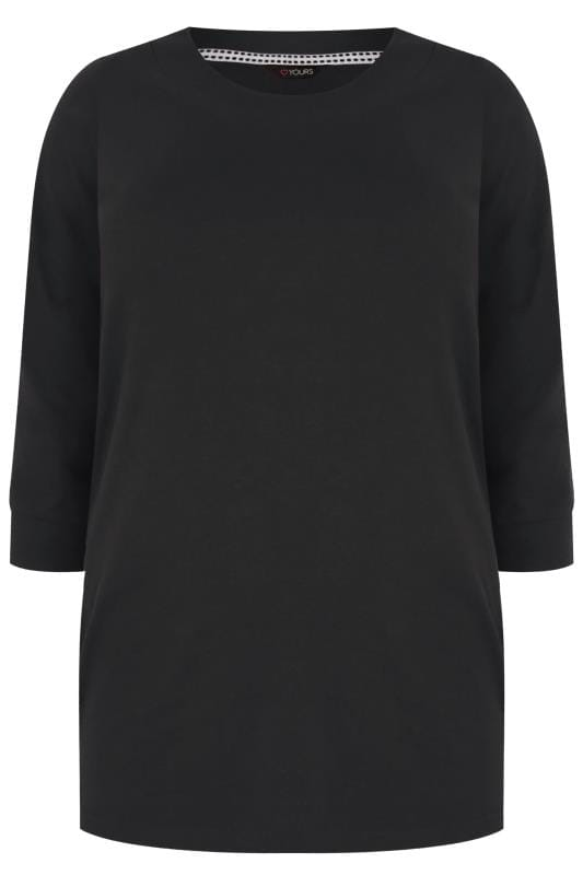Black Seamed Scoop Neck Top