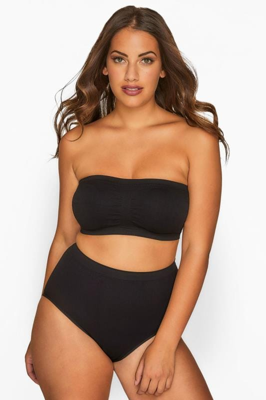 Plus Size Non-Wired Bras Black Seamless Padded Bandeau Bra