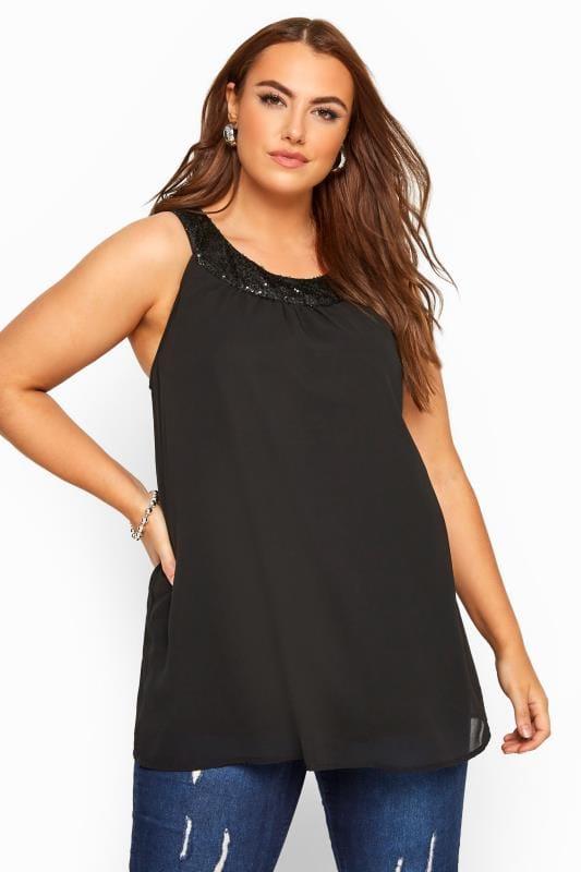 Plus Size Party Tops Black Sequin Chiffon Cami Top
