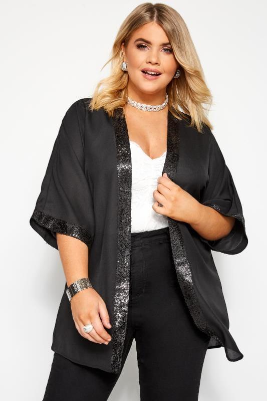 Große Größen Kimonos Pailletten-Jacke - Schwarz