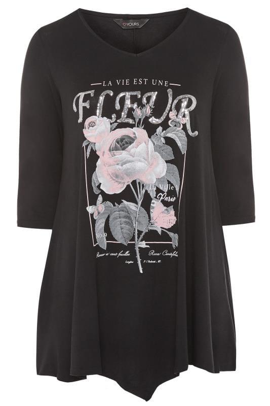 Black Sequin 'Fleur' Slogan Print T-Shirt