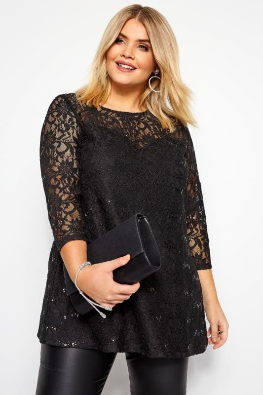 Plus Size Lace Tops Black Sequin Lace Swing Top