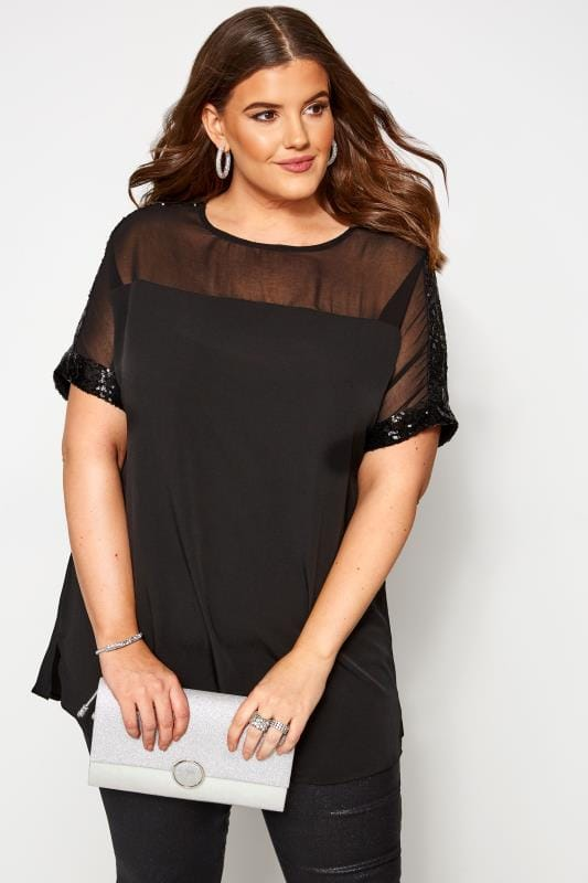 Plus Size Sequin Tops Black Sheer Panel Sequin Shell Top