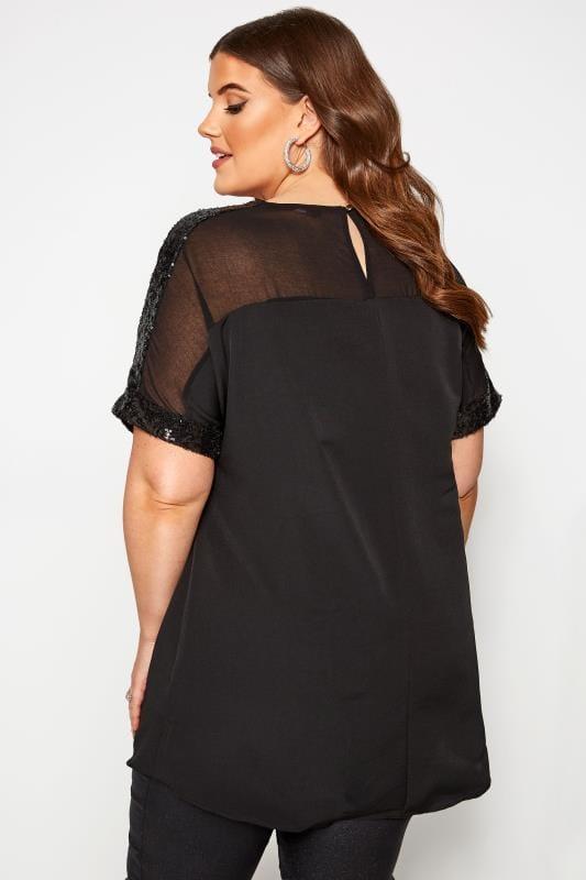 Black Sheer Panel Sequin Shell Top