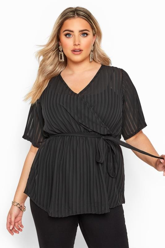 Plus Size Wrap Tops Black Sheer Stripe Chiffon Wrap Top