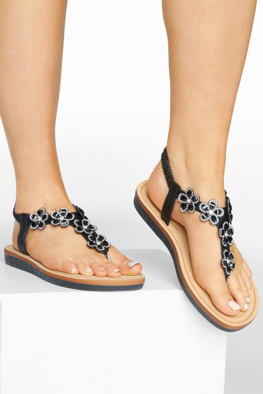 Black Shimmer Diamante Flower Sandals In Extra Wide Fit