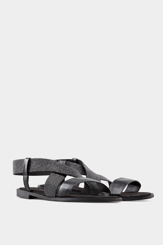 Black Shimmer Elastic Sandals In Extra Wide Fit