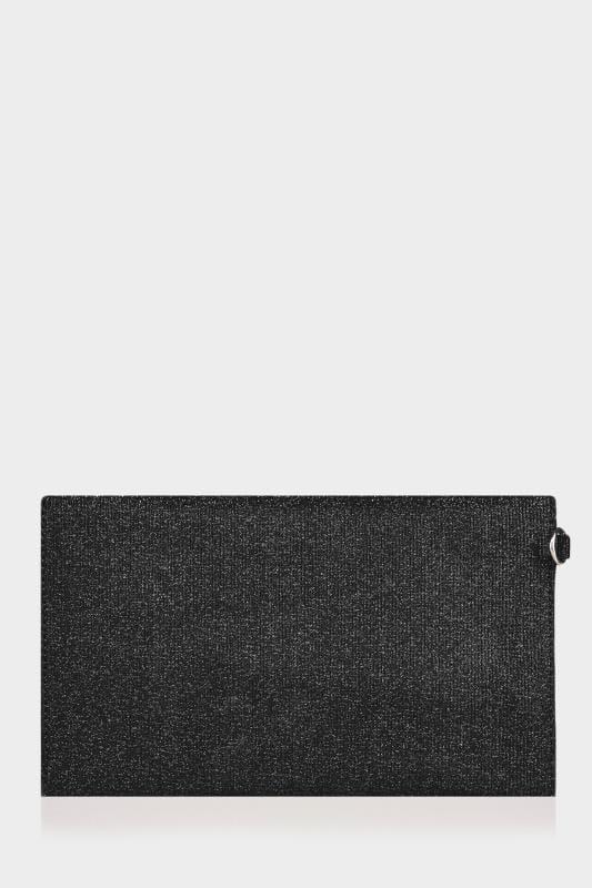 Black Shimmer Envelope Clutch Bag
