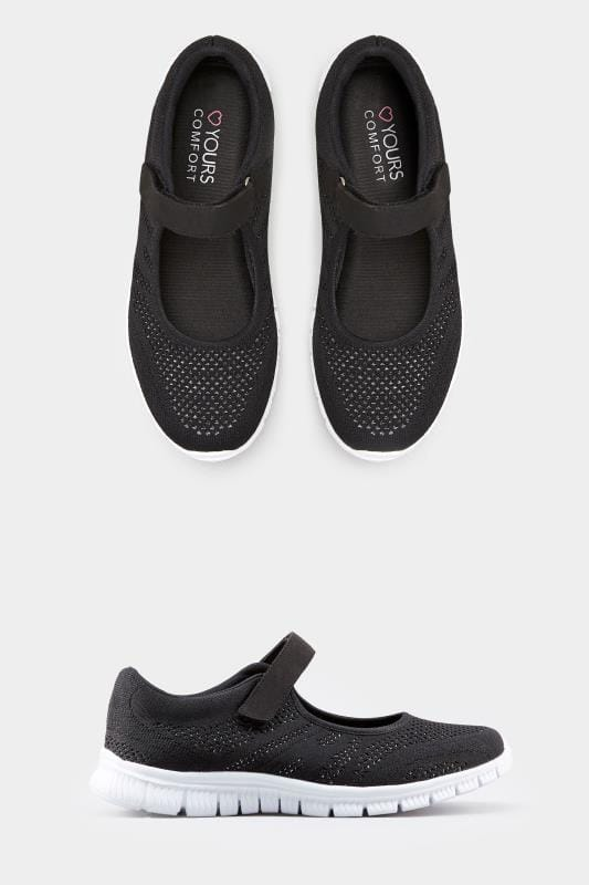 Black Shimmer Knit Strap Pumps In Extra Wide Fit