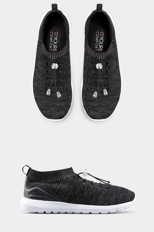 Black Shimmer Sock Style Trainers In Extra Wide Fit
