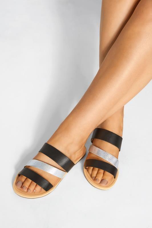 Wide Fit Flat Shoes Black Shimmer Strap Slider Sandals In Extra Wide Fit