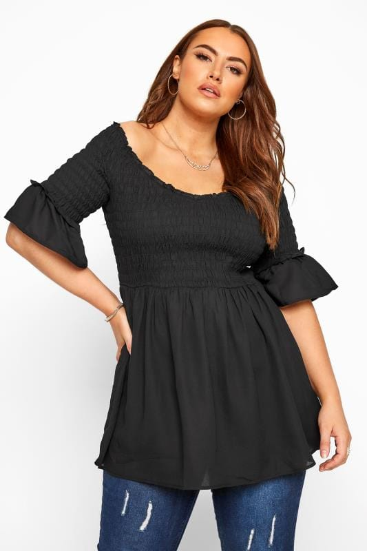 Plus Size Day Tops Black Shirred Bardot Top
