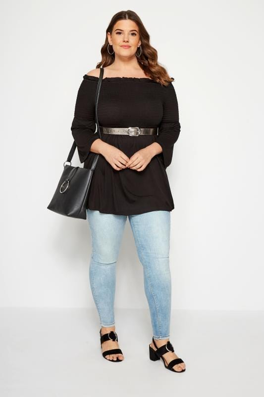 Black Shirred Bardot Top