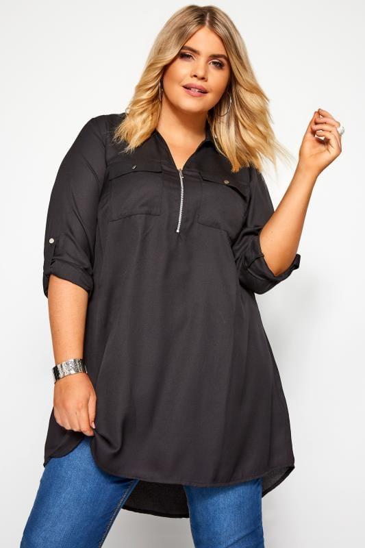Langes Hemd mit Reißverschluss - Schwarz
