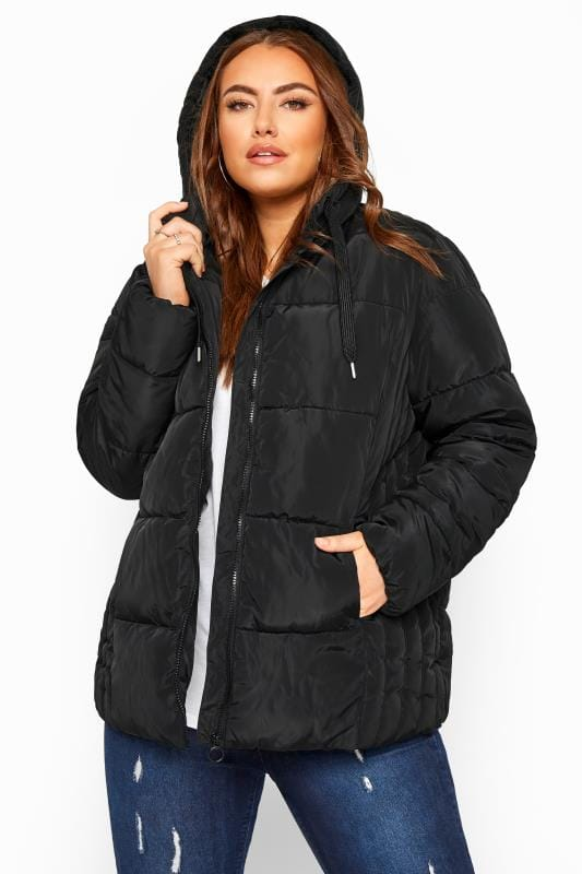 Plus Size Puffer & Quilted Jackets Black Short Puffer Coat