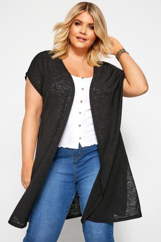 Plus-Größen Cardigans Black Short Sleeve Cardigan