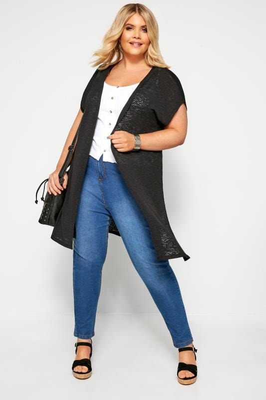 Cardigans Black Short Sleeve Cardigan