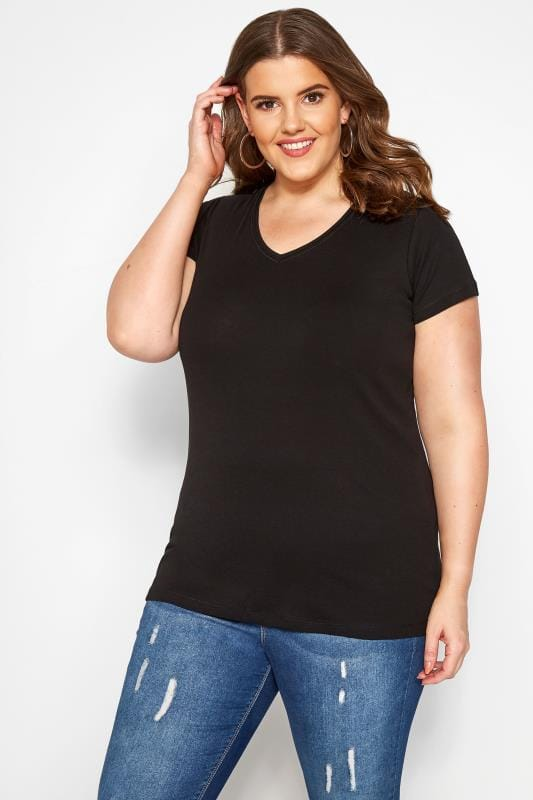 Plus Size Basic T-Shirts & Vests Black Short Sleeved V-Neck Basic T-Shirt