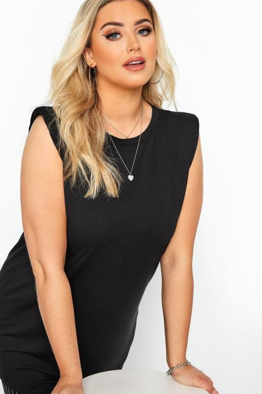 Black Shoulder Pad Sleeveless Top