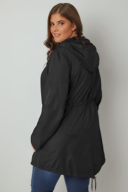 Yours Clothing Women/'s Plus Size Black Pocket Parka With Contrast Drawstrings