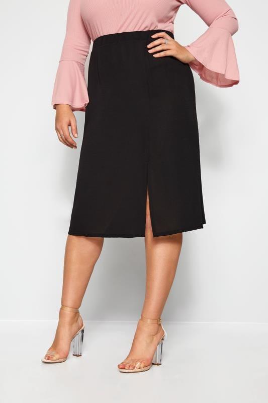 Plus Size Elasticated Waist Skirts Black Side Split Midi Skirt