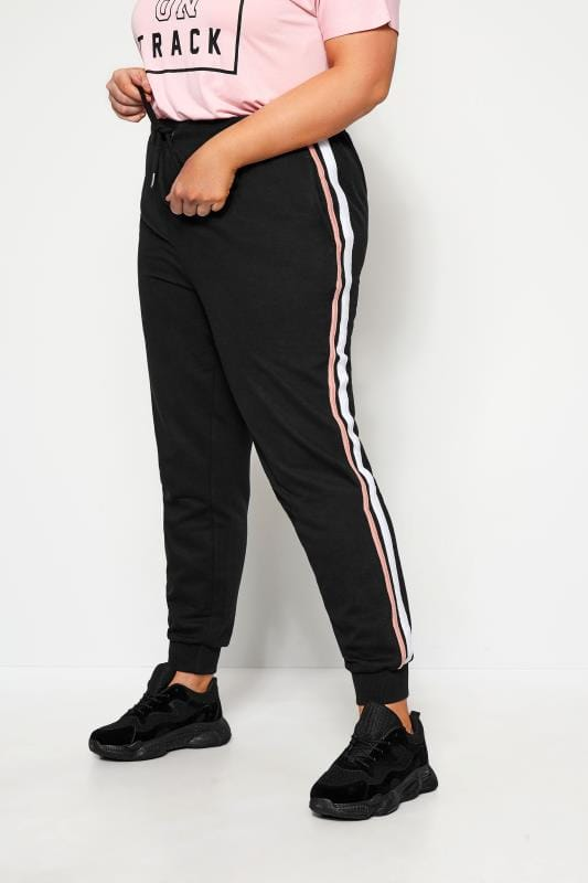 Plus Size Track Pants Black Side Stripe Joggers